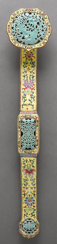 A famille rose enameled porcelain ruyi scepter Late 19th century