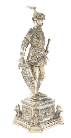 A German sterling silver and ivory figure of a Medieval knight first half 20th century