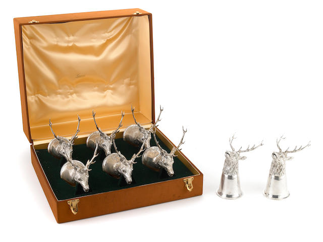 A set of eight Italian  800 standard silver stag-form stirrup cups Gucci,  late 20th century