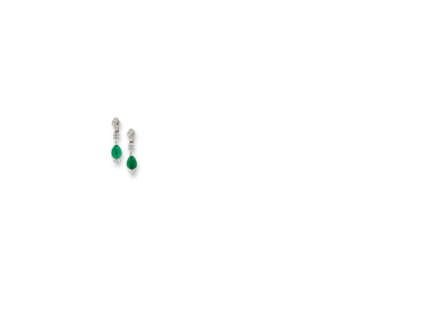 A pair of emerald and diamond pendant earclips