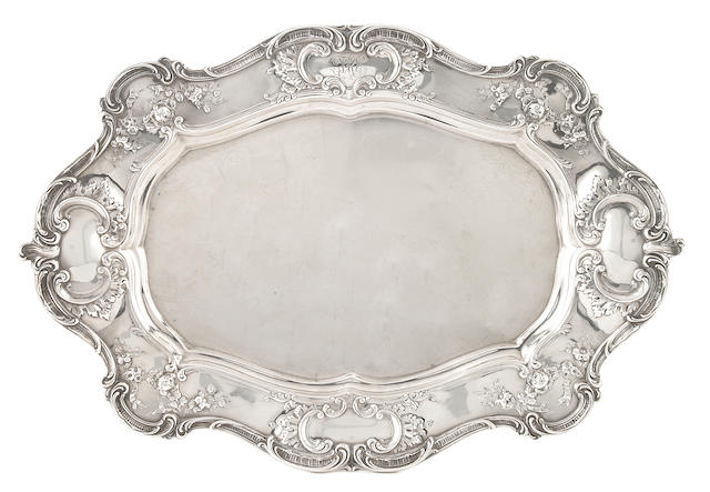 An American sterling silver oval serving tray Gorham Mfg. Co., Providence, RI, 1907