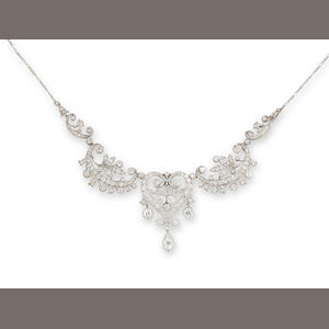 A belle époque diamond necklace/tiara,