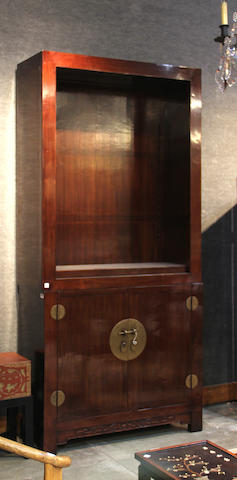 A pair of Chinese elmwood bookcases