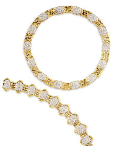 An eighteen karat gold and diamond necklace and bracelet, Alder