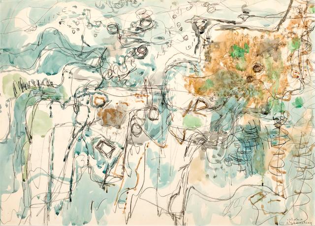 Avigdor Stematsky (Israeli, 1908-1989) Abstract landscape, wc