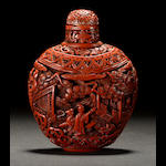 A cinnabar lacquer snuff bottle  Qianlong mark, late 19th century