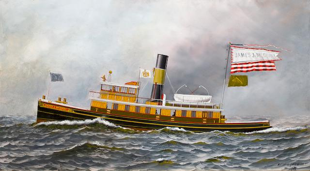 Antonio Nicolo Gasparo  Jacobsen (American, 1850-1921) Tugboat James J. McGuirl at sea 15-1/2 x 28 in. (39.3 x 71 cm.)