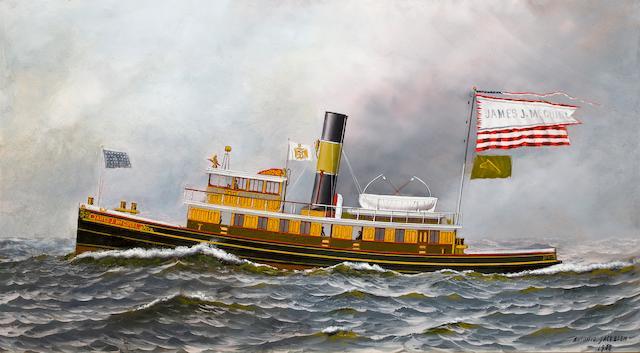 Antonio Nicolo Gasparo  Jacobsen (American, 1850-1921) Tugboat James J. McGuirl <BR />15 1/2 x 29 in. (  cm.)