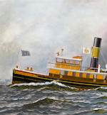 Antonio Nicolo Gasparo  Jacobsen (American, 1850-1921) Tugboat James J. McGuirl <BR />15 1/2 x 29 in. (  cm.)