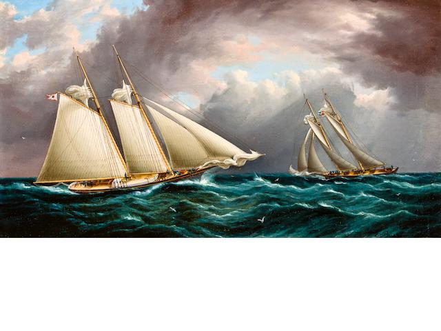 James Edward Buttersworth (British/American, 1817-1894) Yacht race <BR />10 x 18 in. (  cm.)