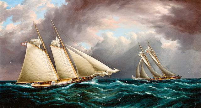 James Edward Buttersworth (British/American, 1817-1894) Yacht Race  10 x 18 in. (25.4 x 45.7 cm.)