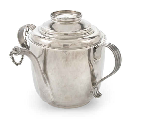 A Queen Anne Britannia silver covered feeding cup