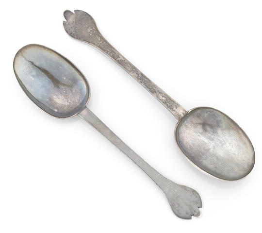 Two Charles II Britannia silver trefid spoons, one by Thomas Issod, the other by Lawrence Coles