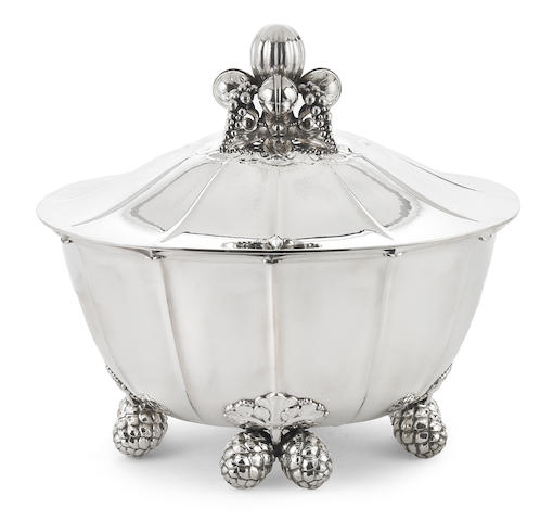 A Danish  sterling silver covered soup tureen, #340 Georg Jensen Silversmithy, Copenhagen,  1945 - 1977