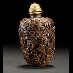 A carved bamboo snuff bottle   19th century
