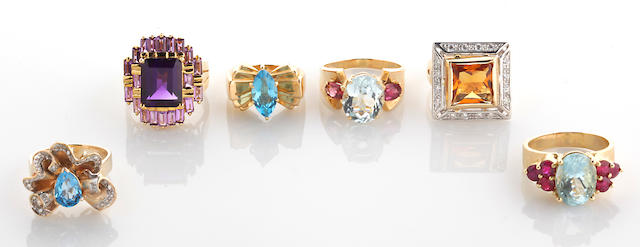 A collection of six gem-set, diamond and 14k gold rings