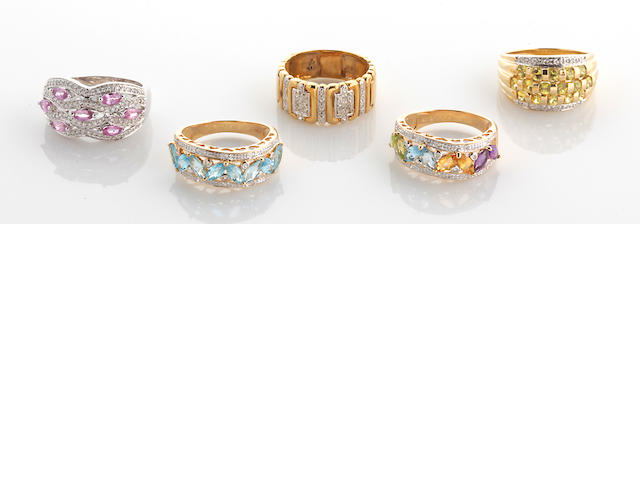 A collection of five gem-set, diamond and 14k white and yellow gold rings