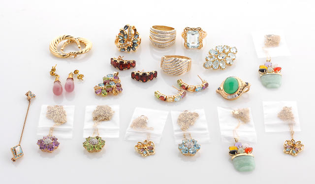A collection of gem-set, hardstone, diamond and 10k gold jewelry together with rose quartz, gem simulant and metal jewelry