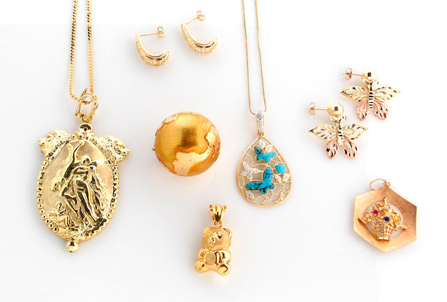 A collection of gem-set, 14k gold and metal jewelry