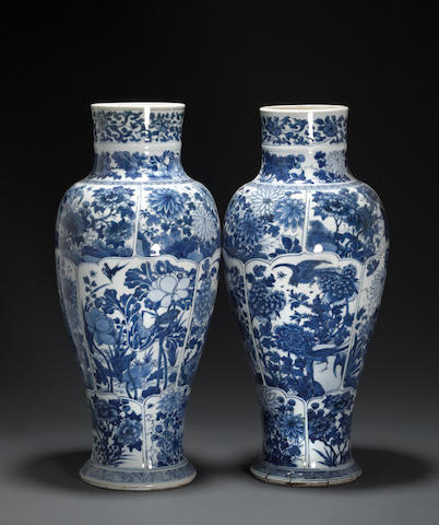 A pair of blue and white porcelain baluster vases Kangxi Period