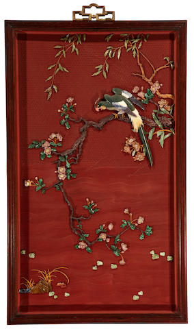 A cinnabar lacquer and hardstone panel Republic period