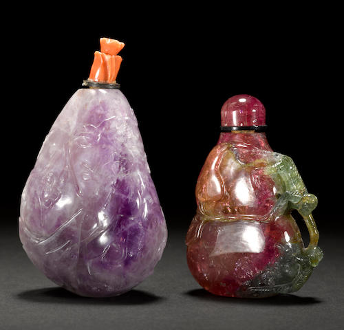 Two tourmaline snuff bottles