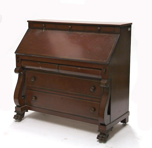 An American Classical Revival paint decorated slant front desk