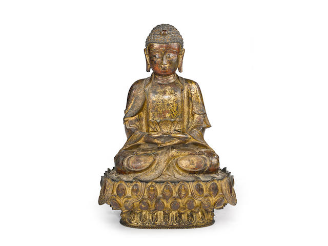 A cast bronze seated figure of the Buddha Ming dynasty