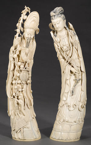 Two carved ivory immortals 20th century