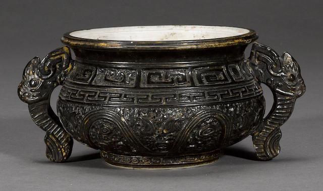 A biscuit enameled porcelain censor  Qianlong mark, Republic period