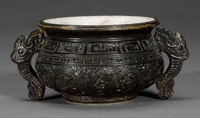 A biscuit enameled porcelain censer Qianlong mark, Republic period