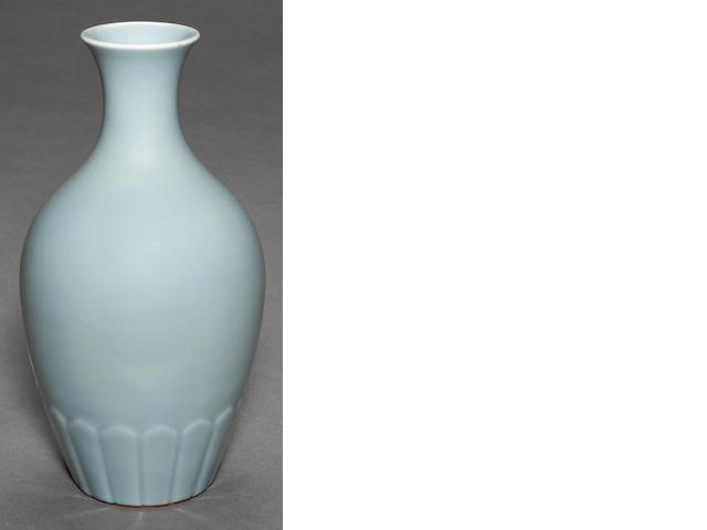 A sky-blue glazed porcelain vase Yongzheng mark