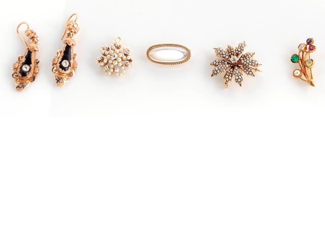 A collection of diamond, seed pearl, gem-set, enamel and 14k gold jewelry