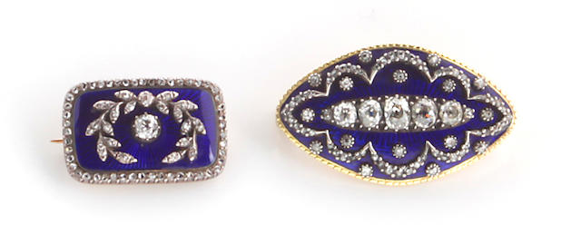 Two antique diamond, guilloché enamel and silver-topped 14k gold brooches,