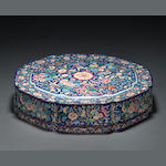 A large painted enamel lobed sweetmeat box and cover