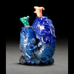A carved lapis lazuli double snuff bottle 20th century