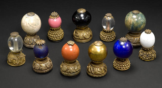 Group of eleven Peking glass hat finials Qing dynasty