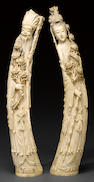 Two large carved ivory figures of immortals 20th century