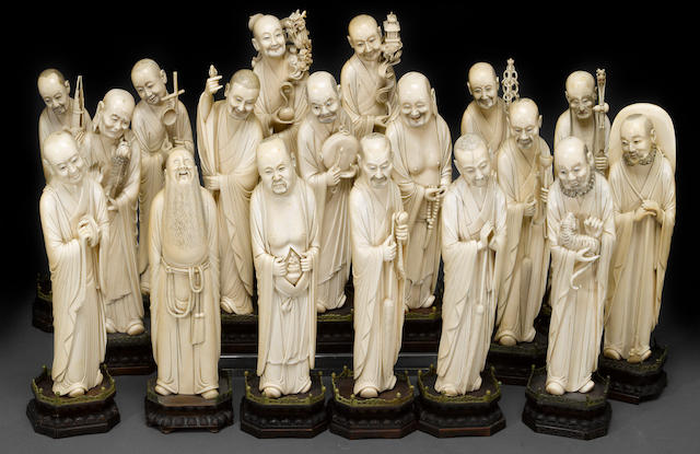 A Chinese ivory carved set of the eighteen Luohan Late Qing Dynasty