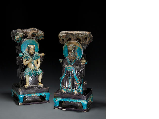 A pair of fahua glazed pottery architectural fragments of Daoist divinities Ming dynasty