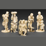 A group of five ivory figural okimono  Taisho/Showa period