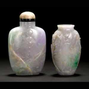 Two pale apple-green-flecked lavender jadeite snuff bottles 1880-1920
