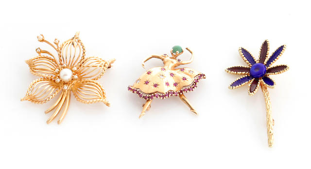 A collection of three enamel, cultured pearl, gem-set and 14k gold brooches
