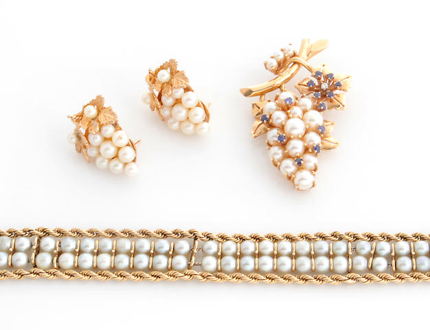 A collection of cultured pearl, sapphire, diamond and 14k gold jewelry