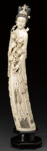 A large carved ivory figure of a female immortal 20th century