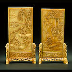 A pair of miniature ivory table screens on ivory stands 18th/19th century