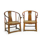 A pair of huanghuali horseshoe back chairs Qing dynasty