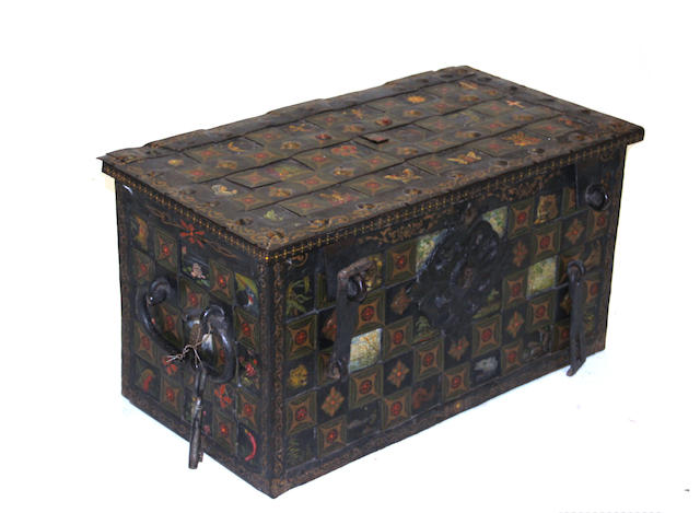 A German painted iron strong box dated 1711