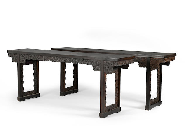 A fine and rare pair of zitan and hongmu recessed leg altar tables 18th/19th century