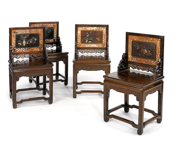 An unusual set of four zitan, hongmu, mixed wood and cinnabar lacquer mounted side chairs Late Qing/Republic period